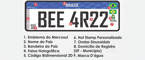 Novas placas de veículos já começam a valer em setembro no Brasil